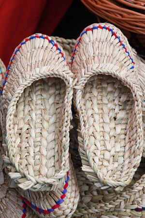 bast: close-up texture of natural material handmade pair of bast shoe Stock Photo