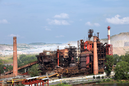 industrial landscape large metallurgical plant on a cloudy day in summer