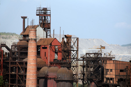 blastfurnace: industrial landscape large metallurgical plant on a cloudy day in summer