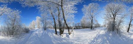 360 Panorama, Winterlandschaft Bäume in Frost und Schneeverwehungen auf dem Fluss an einem sonnigen Tag