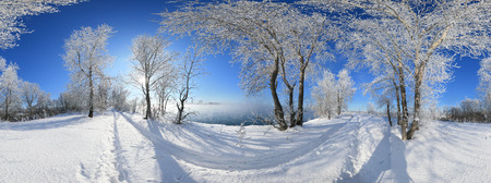 360 panorama, bomen van het de winterlandschap in vorst en sneeuwafwijkingen op de rivier op een heldere zonnige dag Stockfoto