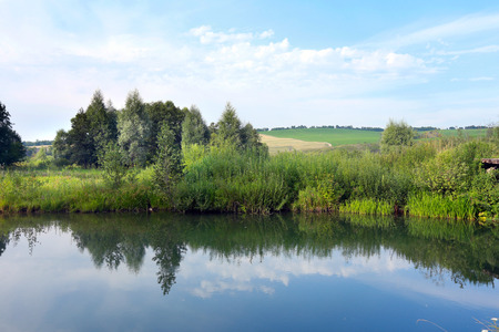 summer landscape of a calm lake and trees on the shore on a cloudy day Stock Photo