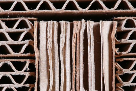 Macro texture of cardboard in the sectional of the folded in several layers Stock Photo