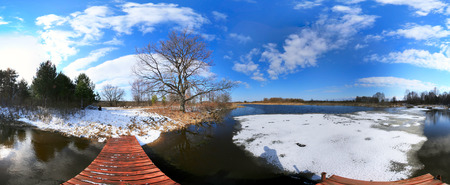 thawed: landscape early spring on the river on a sunny day Stock Photo