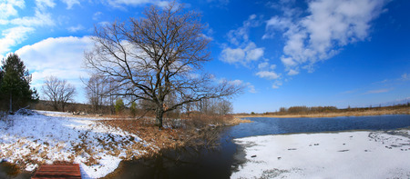 tatarstan: landscape early spring on the river on a sunny day Stock Photo