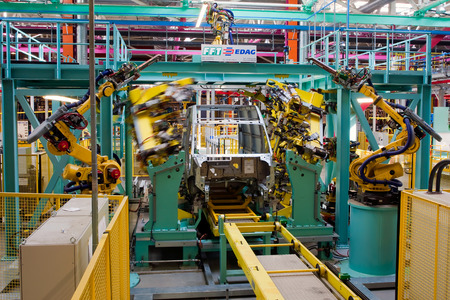 assembly line: Yelabuga, Russia - May 12, 2014: assembly line vehicles Ford Sollers plant in the special economic zone Alabuga