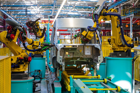 """Yelabuga, Russia - May 12, 2014: assembly line vehicles Ford Sollers plant in the special economic zone """"Alabuga"""""""