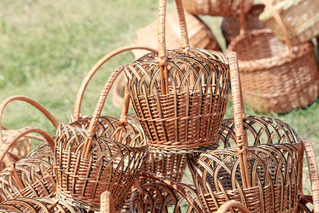 natural materials: close-up  wicker baskets and other items made from natural materials