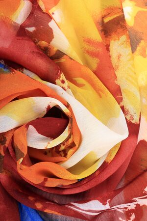 chiffon: macro colorful chiffon folded rosettes studio Stock Photo