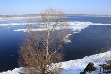 crevasse: landscape ice drift on the river in the spring on a sunny day Stock Photo