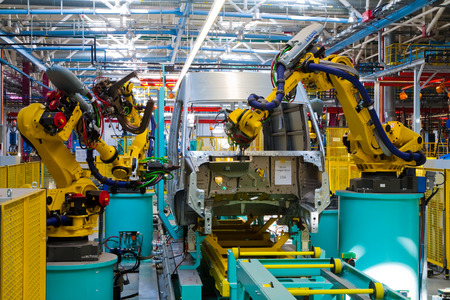 Yelabuga, Russia - May 12, 2014: assembly line vehicles Ford Sollers plant in the special economic zone Alabuga