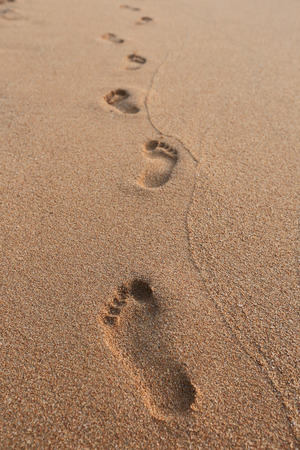 footprint sand: close-up of human footprints in the wet sand at the seaside Stock Photo