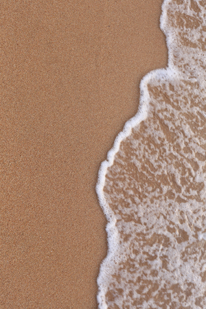 close-up of human footprints in the wet sand at the seaside photo