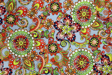 macro bright floral pattern on the fabric studio photo