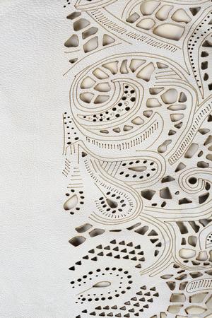 macro textuur fragment beige kant leer studio Stockfoto