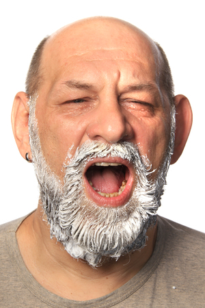 graying: close-up portrait of an adult male color beard and mustache on white background studio
