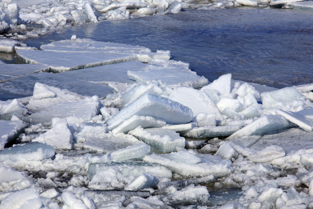 crevasse: landscape close-up ice drift on the river in the spring on a sunny day Stock Photo