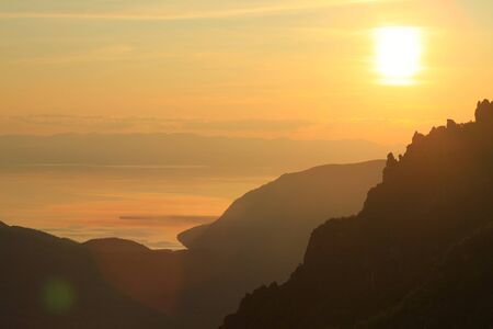 summer landscape sunset over the lake Baikal, the view from the mountain photo
