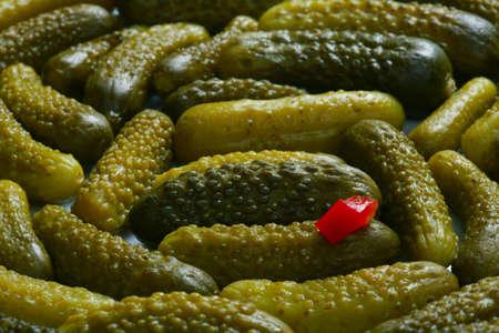 gherkins: macro isolated pickled gherkins studio Stock Photo
