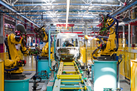 assembly: Yelabuga, Russia - May 12, 2014: assembly line vehicles Ford Sollers plant in the special economic zone Alabuga