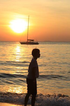 december 21: Pattaya, Thailand - December 21: marine leisure on the beach at sunset December 21, 2014 in Pattaya, Thailand. Editorial