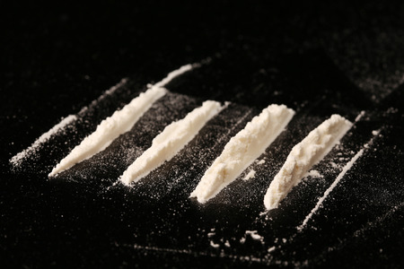 close-up drugs on black background studio