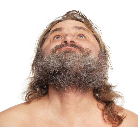 close-up portrait of a charismatic man with a beard and mustache Studio Imagens
