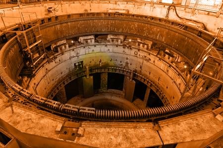 hertz: Industrial interior close-up generator stator, hydroelectric turbine hall Stock Photo