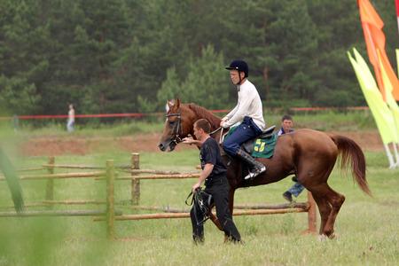 hippodrome: Naberezhnye Chelny, Russia - 06 June 2006:horse racing at the Hippodrome of Naberezhnye Chelny sunny summer day