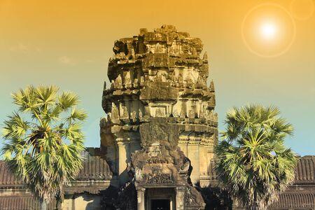 vishnu: summer landscape Angkor - Hindu temple complex dedicated to the god Vishnu, instagram filter Stock Photo
