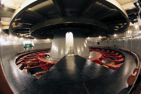 megawatts: Industrial interior close-up generator stator, hydroelectric turbine hall Stock Photo
