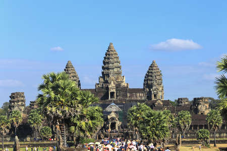 sights: Angkor, Cambodia - December 20, 2014: Tour to the sights of Cambodia - a Hindu temple complex dedicated to the god Vishnu.