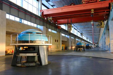 megawatts: Naberezhnye Chelny, Russia - January 20, 2015: Interior of the machine hall hydroelectric, January 20, 2015
