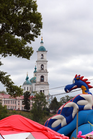 spasskaya: Yelabuga, Russia - August 3, 2014: The annual Spasskaya Fair on Shishkin Ponds in Yelabuga.