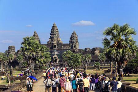 vishnu: Angkor, Cambodia - December 20, 2014: Tour to the sights of Cambodia - a Hindu temple complex dedicated to the god Vishnu.