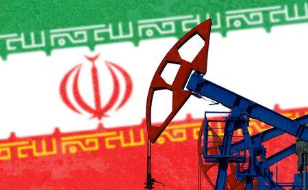 close-up van de oliepomp op de achtergrond van de vlag Iran