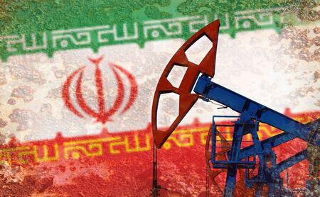 refinería de petróleo: primer plano de la bomba de aceite en el fondo de la bandera de Irán