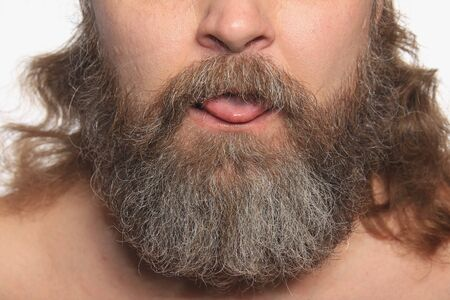 graying: close-up isolated graying beard and mustache adult male Stock Photo