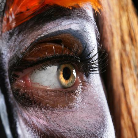 close up color women face art
