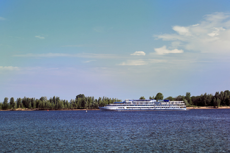 summer landscape passenger ship on the river on a sunny summer day Stockfoto - 97232650