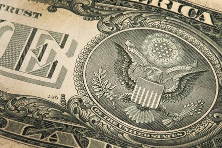 unum: macro fragment banknote one US dollar, low depth of field Stock Photo