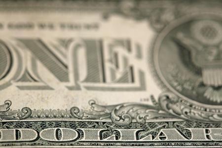 macro fragment banknote one US dollar, low depth of field Reklamní fotografie