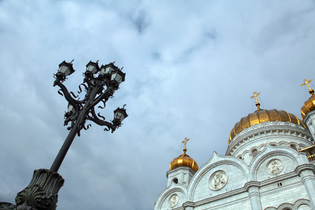 cityscape lantern and dome of the Cathedral of Christ the Savior on background of sky, view from the bottom up Stock Photo