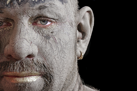Close Up Portrait Of A Man In The Clay Body Art Studio On A Stock Photo Picture And Royalty Free Image Image 97217522