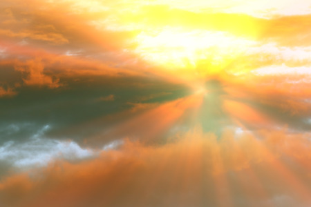 Sunset , sunrise with clouds, light rays and other atmospheric effect 스톡 콘텐츠