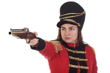 Portrait of Pretty girl in the costume of a hussar on a white background studio