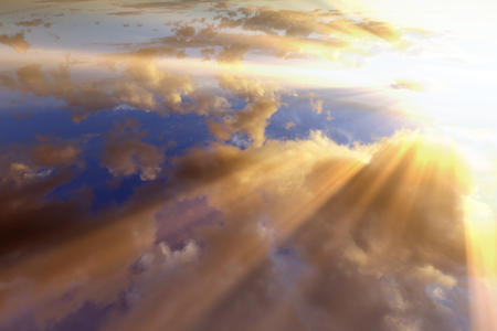 Sunset , sunrise with clouds, light rays and other atmospheric effect