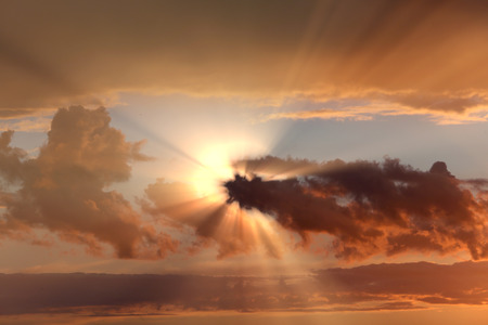 Sunset , sunrise with clouds, light rays and other atmospheric effect Stockfoto