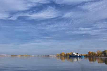 a river pusher on the Kama river with a beautiful sky Stockfoto