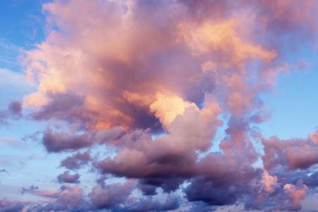 Beautiful sunset  sunrise with clouds, in pink and purple hues